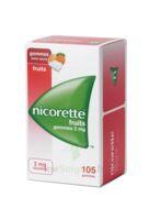 Nicorette 2 mg Gomme à mâcher médicamenteuse sans sucre fruits Plq/105 à Nice