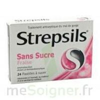 STREPSILS FRAISE SANS SUCRE, pastille édulcorée à l'isomalt, au maltitol et à la saccharine sodique à Nice
