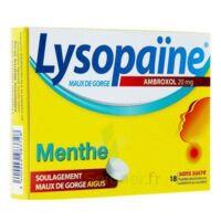 LYSOPAÏNE AMBROXOL 20 mg Pastille maux de gorge sans sucre menthe édulcorée au sorbitol et saccharine sodique Plq/18 à Nice